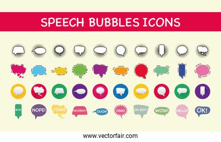 bundle of fourty speech bubbles isolated icons