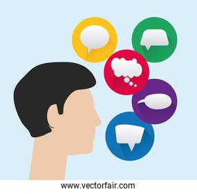 man profile with speech bubbles isolated icons