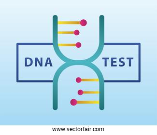 dna molecule structure with lettering in light blue background
