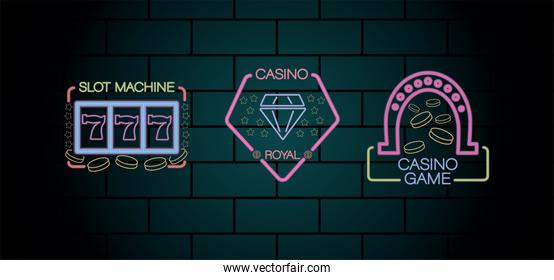 three casino neon lights labels in wall