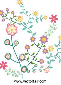 flowers garden and leafs pattern background