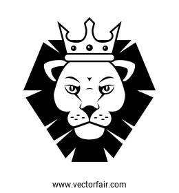 head of lion king with crown  monochrome silhouette