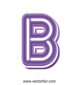 letter B in purple neon font