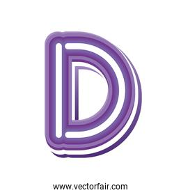 letter D in purple neon font