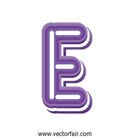 letter E in purple neon font