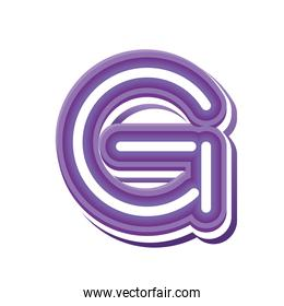 letter G in purple neon font
