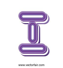 letter I in purple neon font