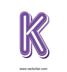 letter K in purple neon font