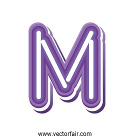 letter M in purple neon font