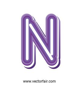 letter N in purple neon font