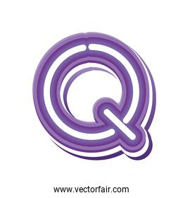 letter Q in purple neon font