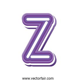 letter Z in purple neon font