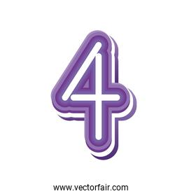 number 4 in purple neon font