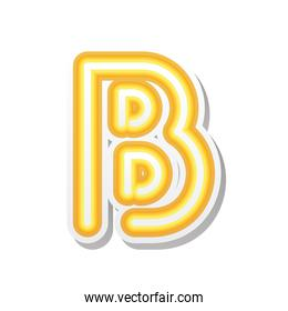 letter B in orange neon font