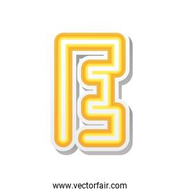 letter E in orange neon font
