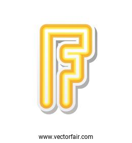 letter F in orange neon font