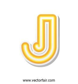 letter J in orange neon font