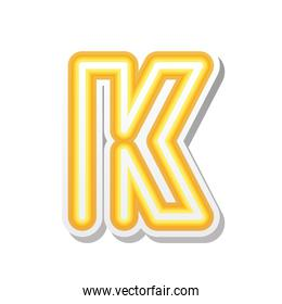 letter K in orange neon font