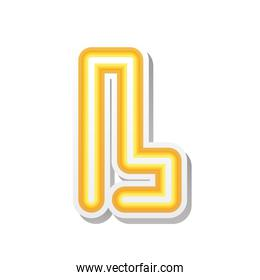 letter L in orange neon font