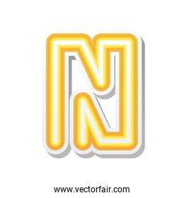 letter N in orange neon font