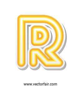 letter R in orange neon font