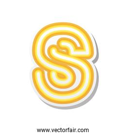 letter S in orange neon font