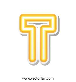 letter T in orange neon font