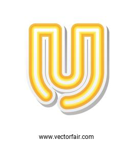 letter U in orange neon font