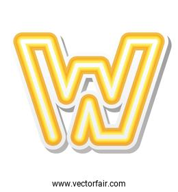 letter W in orange neon font