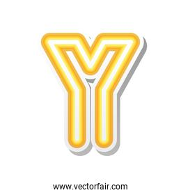 letter Y in orange neon font