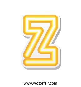 letter Z in orange neon font