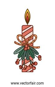 candle on mistletoe with berries of red color and one ribbon