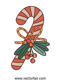 christmas candy cane with mistletoe