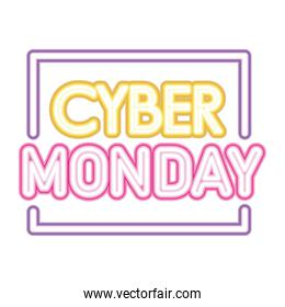 cyber monday lettering in neon font