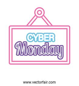cyber monday lettering in neon font on square