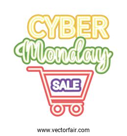 cyber monday sale lettering with a shopping car