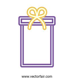 gift box icon in neon style