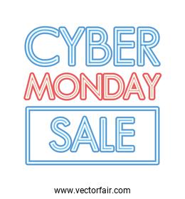 cyber monday sale lettering with a square