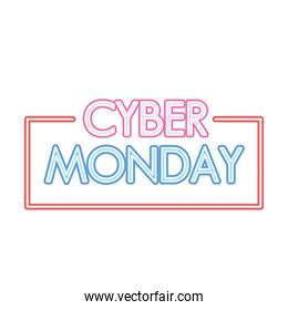 cyber monday lettering in neon font on a white background