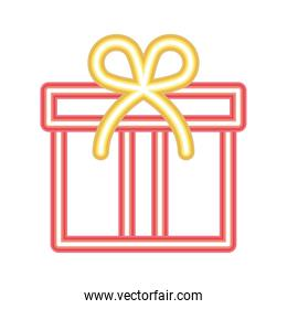 gift box icon of red color in neon style