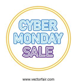 cyber monday sale lettering on a circle
