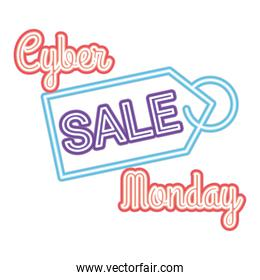 cyber monday sale lettering with a tag