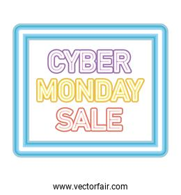 cyber monday sale lettering in neon font on a blue square