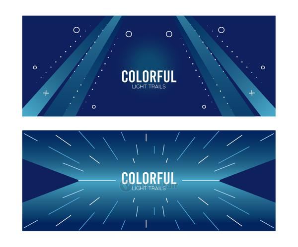 colorful light trail in blue backgrounds