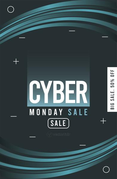 cyber monday sale poster with blue trails
