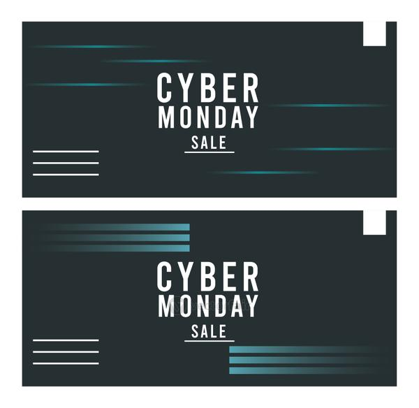 cyber monday sale posters with blue lines