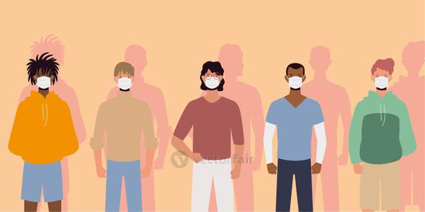 group of people wearing surgical masks and standing together, prevention and safety