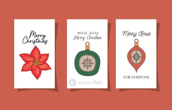 set of christmas cards on red background
