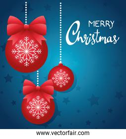 happy merry christmas lettering card with