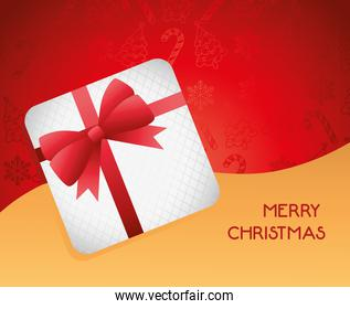 happy merry christmas lettering card with present
